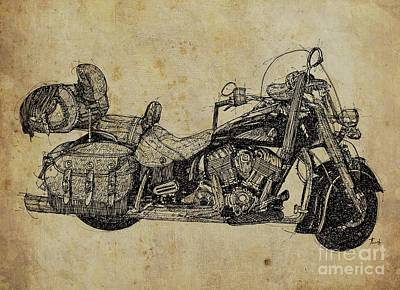 Indian Motorcycle On Vintage Background, Gift For Bikers, Man Cave Decoration Poster by Pablo Franchi