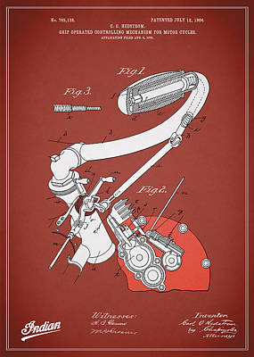 Indian Motorcycle Patent 1904 Poster