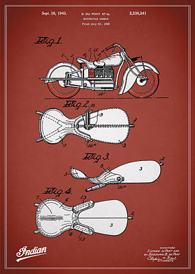 Indian Motorcycle Saddle Patent 1943 Poster by Mark Rogan