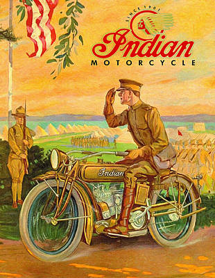Indian Motorcycles World War One Vintage Ad Poster