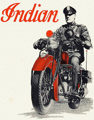 Indian Police Motorcycle Poster
