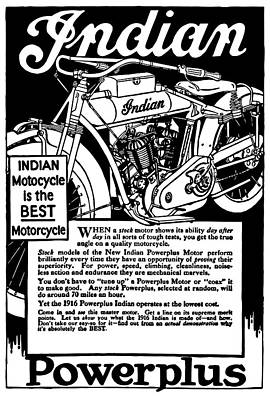 Poster featuring the digital art Indian Power Plus Motocycle Ad 1916 by Daniel Hagerman