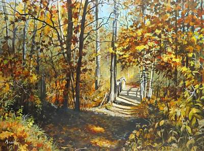 Poster featuring the painting Indian Summer Trail by William Brody