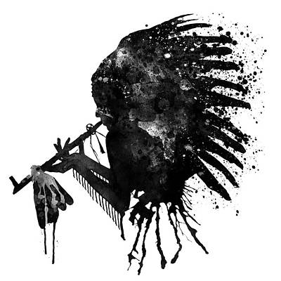 Poster featuring the mixed media Indian With Headdress Black And White Silhouette by Marian Voicu