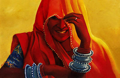 Indian Woman In Veil Poster