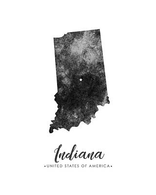 Indiana State Map Art - Grunge Silhouette Poster