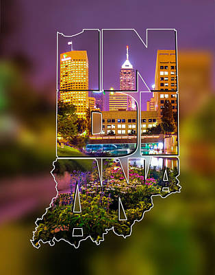 Indiana Typographic Blur - Downtown Indianapolis Skyline At Night - United States Artwork Poster by Gregory Ballos