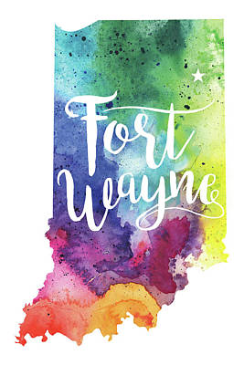 Indiana Watercolor Map - Fort Wayne Hand Lettering  Poster by Andrea Hill