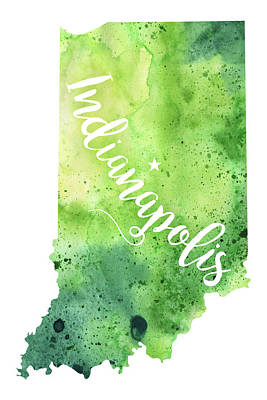 Indiana Watercolor Map - Indianapolis Hand Lettering  Poster by Andrea Hill