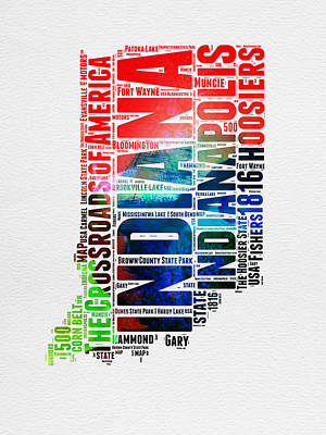 Indiana Watercolor Word Cloud Map  Poster