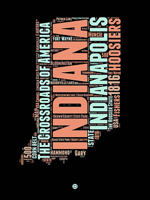 Indiana Word Cloud Map 1 Poster by Naxart Studio