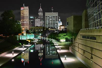 Indianapolis Canal Night View Poster