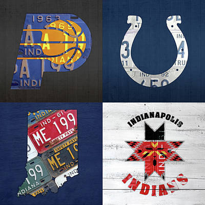 Indianapolis Indiana Sports Team License Plate Art Collage Map Pacers Colts Indians Poster