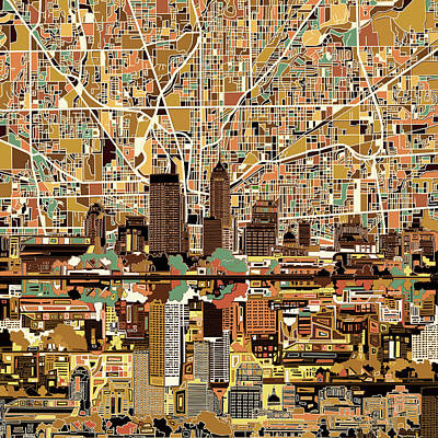 Indianapolis Skyline Abstract 2 Poster by Bekim Art
