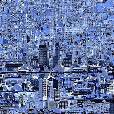 Indianapolis Skyline Abstract 7 Poster by Bekim Art