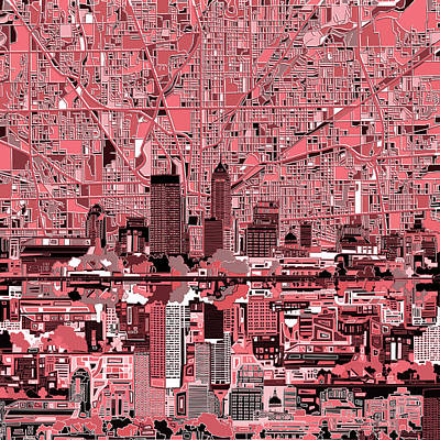 Indianapolis Skyline Abstract 8 Poster by Bekim Art