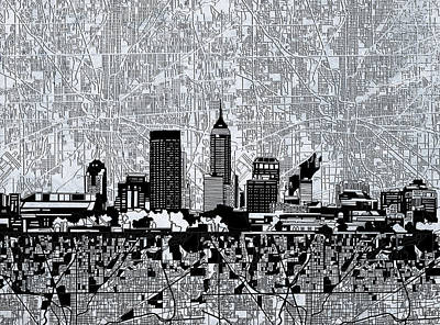 Indianapolis Skyline Abstract 9 Poster by Bekim Art