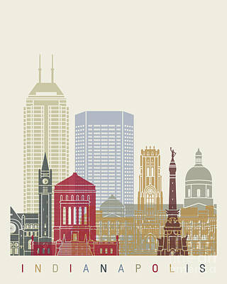 Indianapolis Skyline Poster Poster by Pablo Romero
