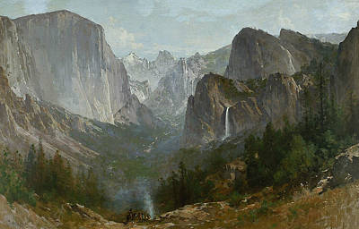 Indians At Campfire Yosemite Valley Poster by Thomas Hill