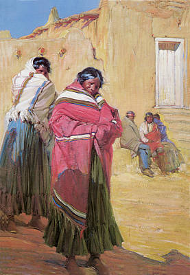 Indians Outside Taos Pueble Poster by Gerald Cassidy