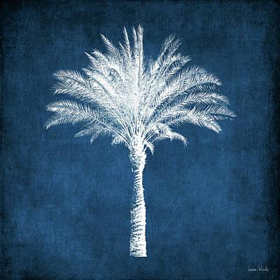 Indigo And White Palm Tree- Art By Linda Woods Poster