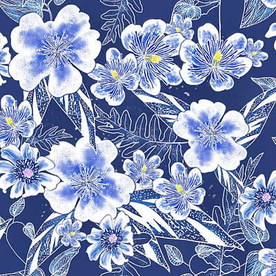 Indigo Batik Tile 1 - Camellia Poster
