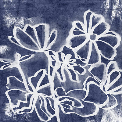 Indigo Floral 3- Art By Linda Woods Poster
