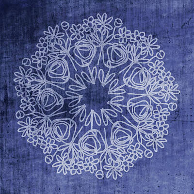 Indigo Mandala 1- Art By Linda Woods Poster by Linda Woods