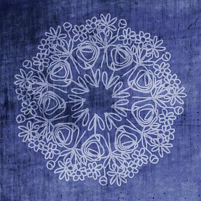 Indigo Mandala 1- Art By Linda Woods Poster