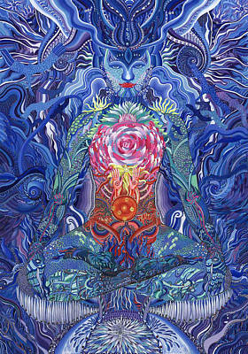 Indigo Meditation Poster by Iryna Lialko