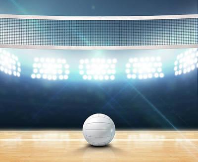Indoor Floodlit Volleyball Court Poster