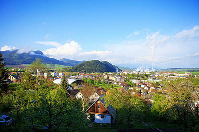 industrial refinery plant in a natural environment and mountain a town View of a factory i Poster by Jozef Klopacka
