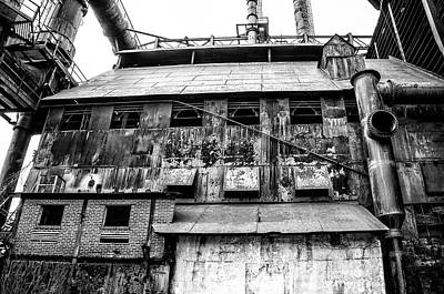 Industrial - The Steel Mill In Bethlehem Pa In Black And White Poster by Bill Cannon