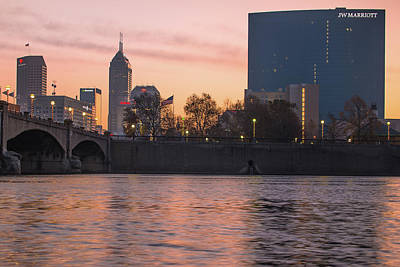 Indy Skyline On The River - Indianapolis Morning Poster by Gregory Ballos