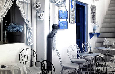 Infrared Cafe Seats In Mykonos Poster