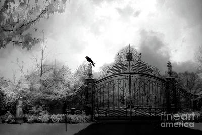 Poster featuring the photograph Infrared Gothic Raven On Gate Black And White Infrared Print - Solitude - Gothic Raven Infrared Art  by Kathy Fornal