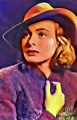 Ingrid Bergman, Vintage Actress. Digital Art By Mb Poster