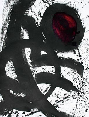 Ink On Paper Rose #2 Vertical Ink Landscape Original Fine Art Ink On Paper Poster
