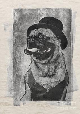 Inky Pug Poster