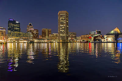 Inner Harbor Nightlights Poster by Brian Wallace