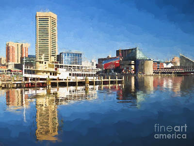 Inner Harbor Reflections  Poster by Kerri Farley