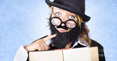 Inquisitive Scientist Holding Open Theory Book Poster by Jorgo Photography - Wall Art Gallery