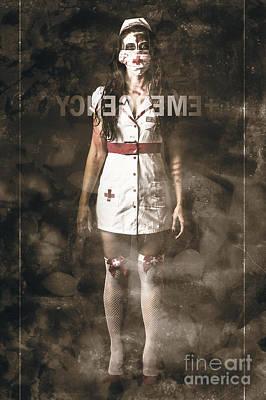 Insane Emergency Room Nurse At Er Glass Doors Poster