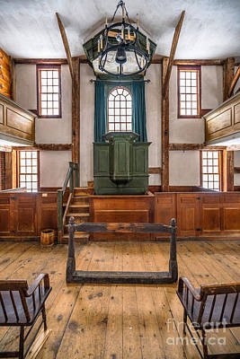 Inside The Harpswell Meetinghouse Poster by Benjamin Williamson