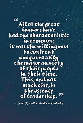 Inspirational Quotes - Motivational , Leadership - 25  John Kenneth Galbraith Poster