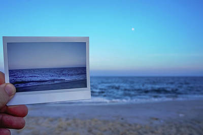 Instant Film Versus Digital Photography On The Beach Poster