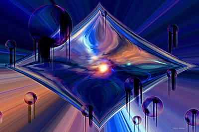 Poster featuring the digital art Interdimensional Portal by Linda Sannuti