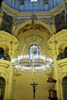 Interior Evening View Of St. Nicholas Church In Prague Poster