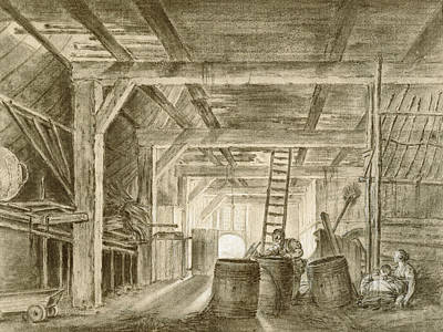Interior Of A Barn With A Family Of Coopers Poster