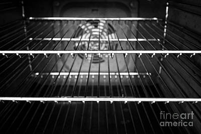 Interior Of A Home Kitchen Oven With Clean Metal Grill Shelves Poster